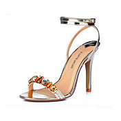 Leatherette With Rhinestone/Ankle Strap Sandals (More Colors)