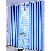 (Two Panels) Sky-Blue Solid Thermal Curtains