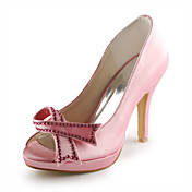 Satin Stiletto Heel Peep Toe / Pumps With Rhinestone Hand-made Party Evening Shoes (More Colors Available)