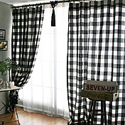(Two Panels) Classic Black And White Check Energy Saving Curtains