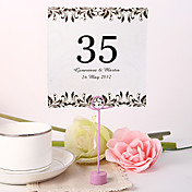 Personalized Square Table Number Card - Artistic Leaf (Set fo 10)
