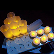 12 pc Warm Yellow  LED Rechargeable Flameless Tea Light Candles
