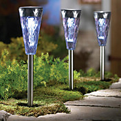 Set of 3 White Solar Powered LED Rechargeable Plastic Garden Path Light