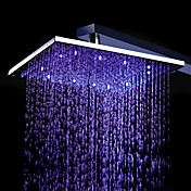 8 Inch Chromed Brass Square LED Rain Shower Head (0913 -8104)