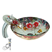 Colourfull Tempered Glass Vessel Sink With Waterfall Faucet ,Pop - Up drain and Mounting Ring