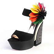 Leatherette Wedge Heel Sandals Party / Evening Shoes With Flower
