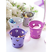 Metal Favor Pail With Heart Cut–outs – Set of 12 (More Colors)
