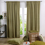 Green Solid Polyester Energy Saving Curtains (Two Panels)