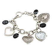 Women's Fashionable Sweet Heart Pendant Silver Alloy Quartz Bracelet Watch