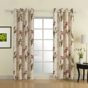 Flower Letter Print Window Curtain (Two Panels)