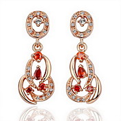 18K Gold Fashion Red Rhinestone Alloy Earrings