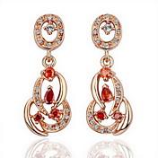 18K Gold Fashion Red Rhinestone Alloy Earrings
