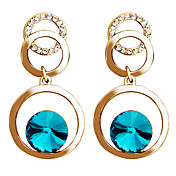 Czech Stones Three Circles Pendant Earrings