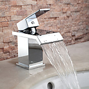 Broad Spout Contemporary Chrome Finish Waterfall Centerset Bathroom Sink Faucet