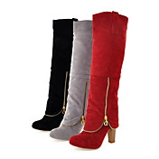 Suede Chunky Heel Knee High Boots Party / Evening Shoes With Zipper (More Colors)