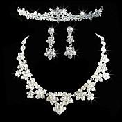 Alloy With Elegant Rhinestone Wedding Jewelry Set Including Tiara,Necklace,Earrings
