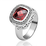 Gorgeous 18K Gold Plated Red Square Crystal Fashion Ring