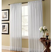 Solid Contemporary White Sheer Curtains (Two Panels)