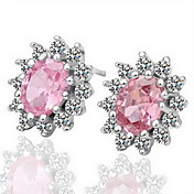 Gorgeous Rhinestone Alloy Round Cut Flower Earrings (More Colors)