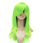 Capless High Quality Synthetic Fashion Green Long Straight Party Wig