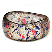 Ladies' Resin Round Bangles Classic Big Bracelet In Wave-Shaped With Red Flowers
