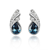Water Drops Austrian Crystal In Real Platinum Plated Ladies' Earrings (More Colors)