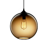 60W Modern Glass Pendant Light in Round Brown Bubble Design