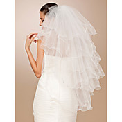 Six-tier Tulle Pencil Edge Fingertip Wedding Veil With Rhinestones (More Colors)