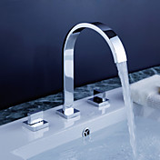 Widespread Contemporary Chrome Bathroom Sink Faucet with Pop up Waste