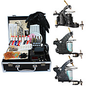 3 Cast Iron Tattoo Machine Gun Kits with Top Quality LCD Power Supply