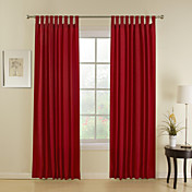 (Two Panels) Modern Red Stripe Energy Saving Curtains