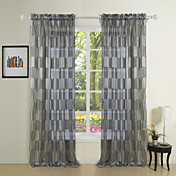 Newyork Black Fashion Sheer Curtains (Two Panels)