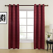 Contemporary Red Horizontal Stripes Blackout Curtains(Two Panels)