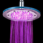 Contemporary Chrome 7 Colors Changing LED Shower Faucet Head of 8 inch
