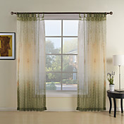 Green Botanical Contemporary Sheer Curtains (Two Panels)