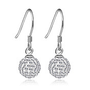 Charming Sterling Silver Round Crystal Drop Earrings