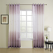 Elegant Print Purple Flower Sheer Curtains (Two Panels)