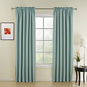 (Two Panels) Classic Blue Solid Thermal Curtains