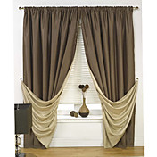 Classic Brown Solid Energy Saving Curtains (Two Panels)