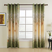Green Maple Leaf Energy Saving Curtains (Two Panels)