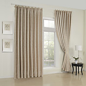 (Two Panels) Classic Embossed Beige Room Darkening Thermal Curtain