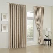 (Two Panels) Classic Embossed Beige Room Darkening Thermal Curtain