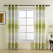 (One Pair) Fresh Green Leaf Energy Saving Curtain