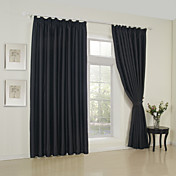 Solid Black Classic Blackout Curtains (Two Panels)