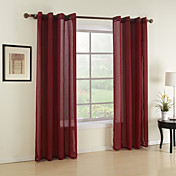 (One Panel) Classic Red Solid Sheer Curtain