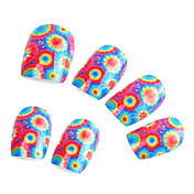 24 PCS Colorfull Flower Nail Art False Nails With Glue