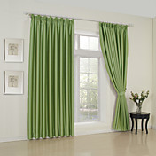 (One Pair) Classic Solid Green Room Darkening Curtain