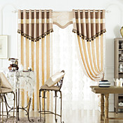 Traditional Elegant Print Energy Saving Curtain Set (Two Panels with Tassels)