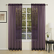 (Two Panels) Classic Elegant Solid Sheer Curtain With Beads