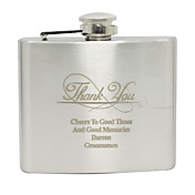 Personalized Stainless Steel 5-oz Flask - Thank You